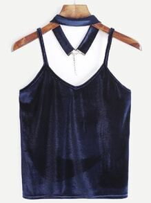 Navy Velvet Cami Top With Choker