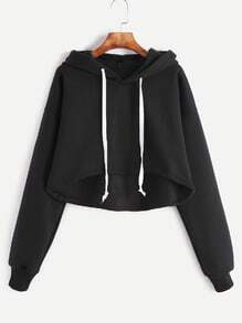 Black Drop Shoulder Dip Hem Drawstring Hooded Crop Sweatshirt