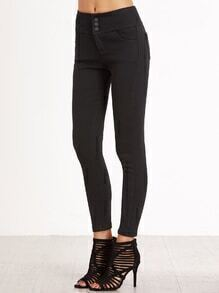 Black Buttons Front Skinny Pants