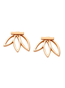 Gold Plated Lotus Flower Hollow Out Stud Earrings