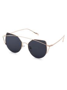 Gold Frame Double Bridge Black Cat Eye Sunglasses