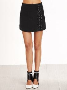 Black Metal Eyelet Lace Up Front Skirt With Zipper
