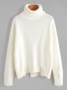 White Roll Neck Drop Shoulder Asymmetric Hem Sweater