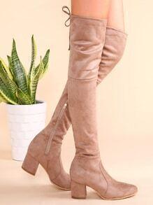 Botas de ante en punta con cordón y cremallera lateral - albaricoque