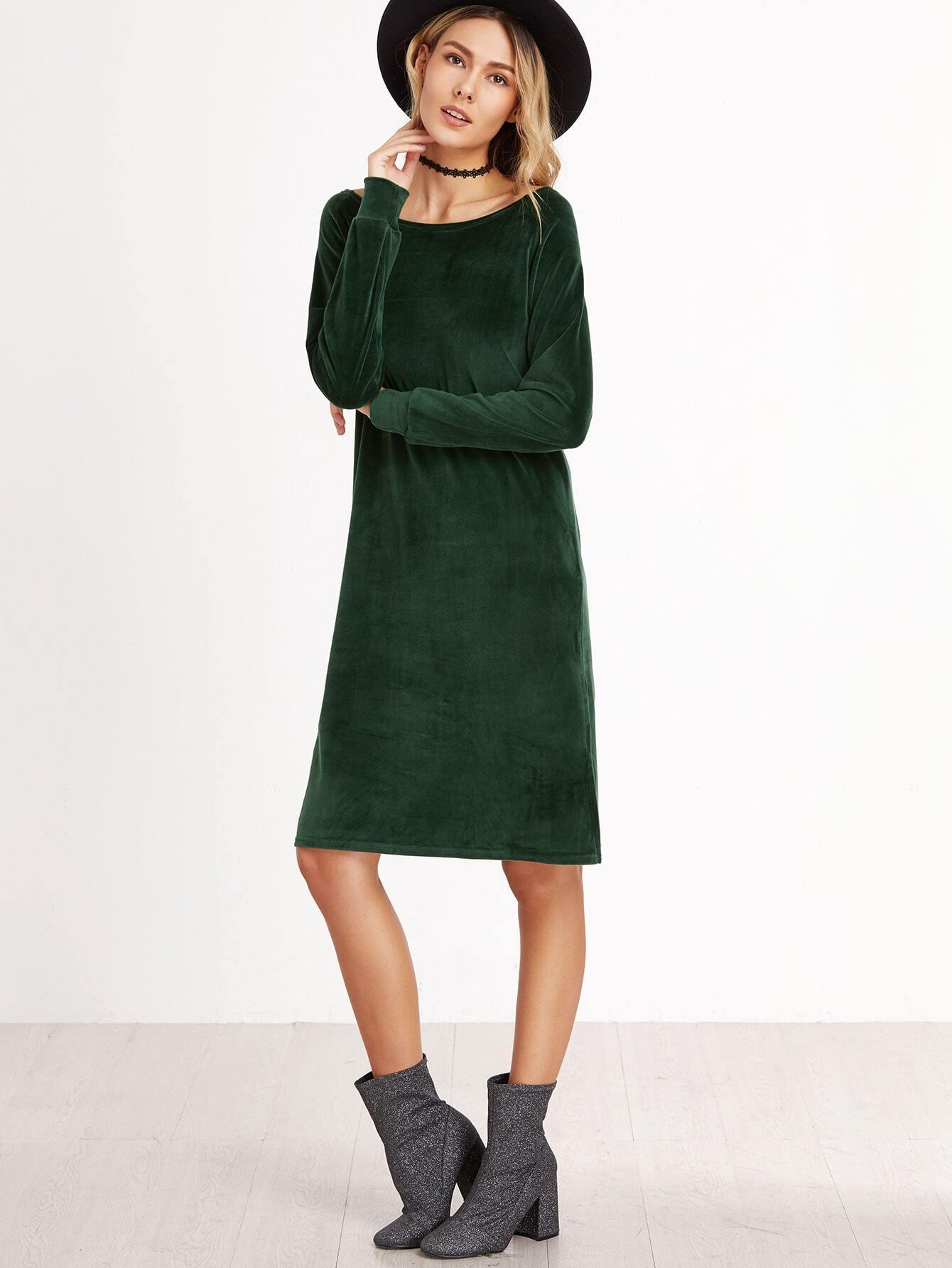 Kleid langarm Samt Schlitz Seitlich-dunkel grün | ROMWE