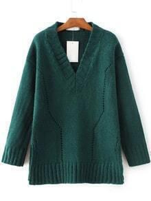 Green V Neck Side Slit Sweater