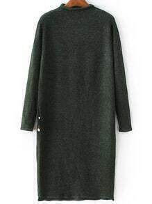 Dark Green Mock Neck Side Slit Knit Dress