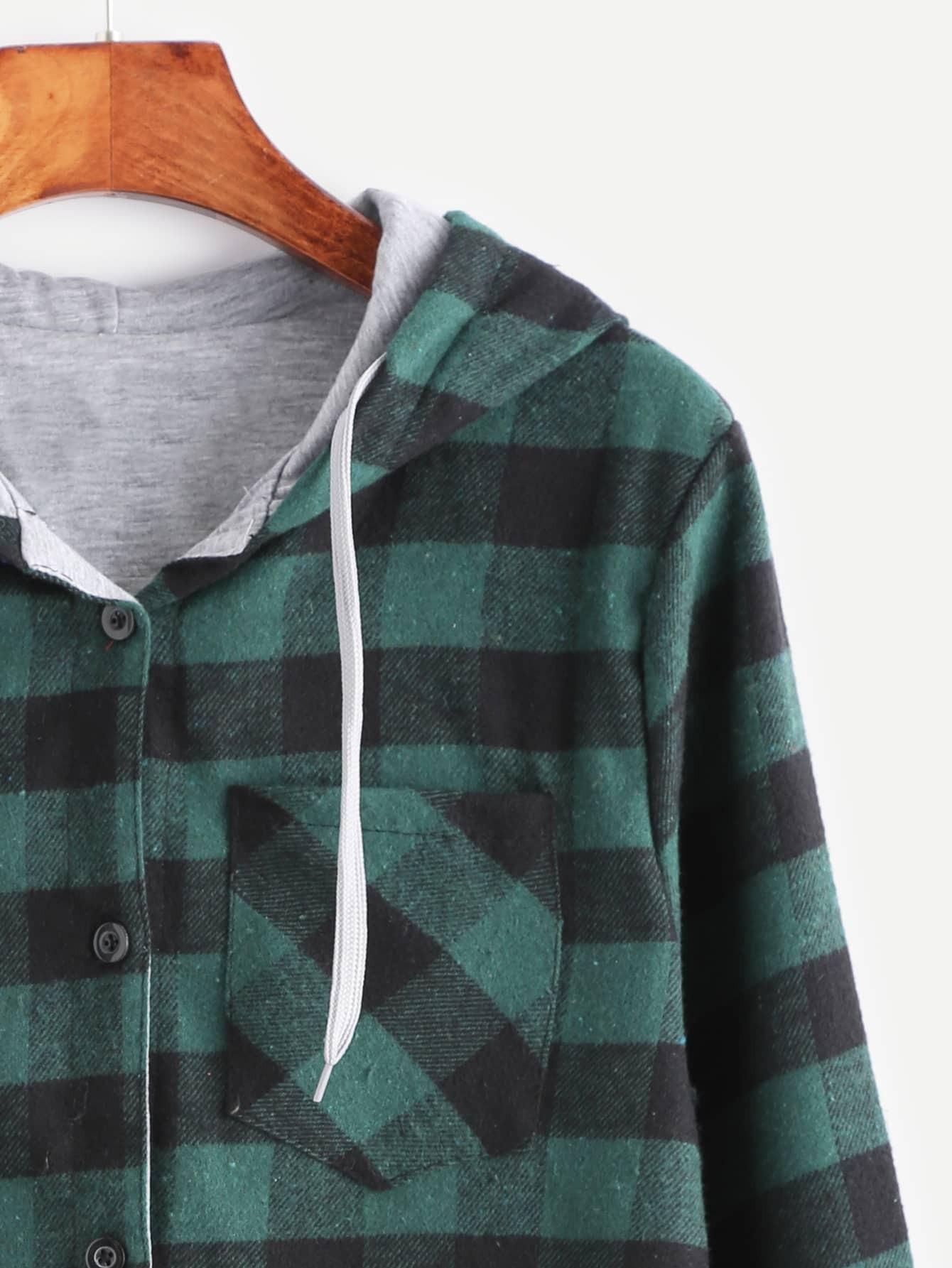 chemisier en cossais avec poche avec capuchon de doublure contrast vert french romwe. Black Bedroom Furniture Sets. Home Design Ideas