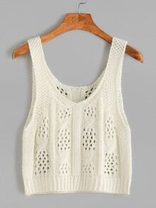 Beige Eyelet Cable Knit Crop Tank Top
