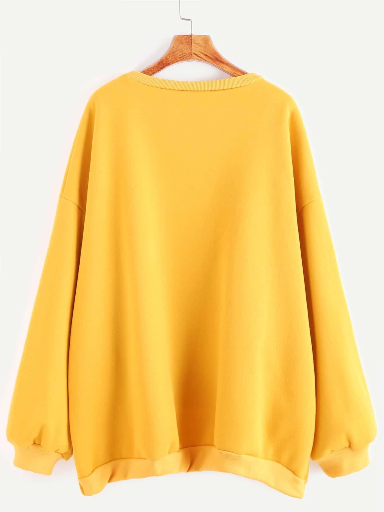 sweatshirt drop schulter vorne kurz hinten lang gelb german romwe. Black Bedroom Furniture Sets. Home Design Ideas
