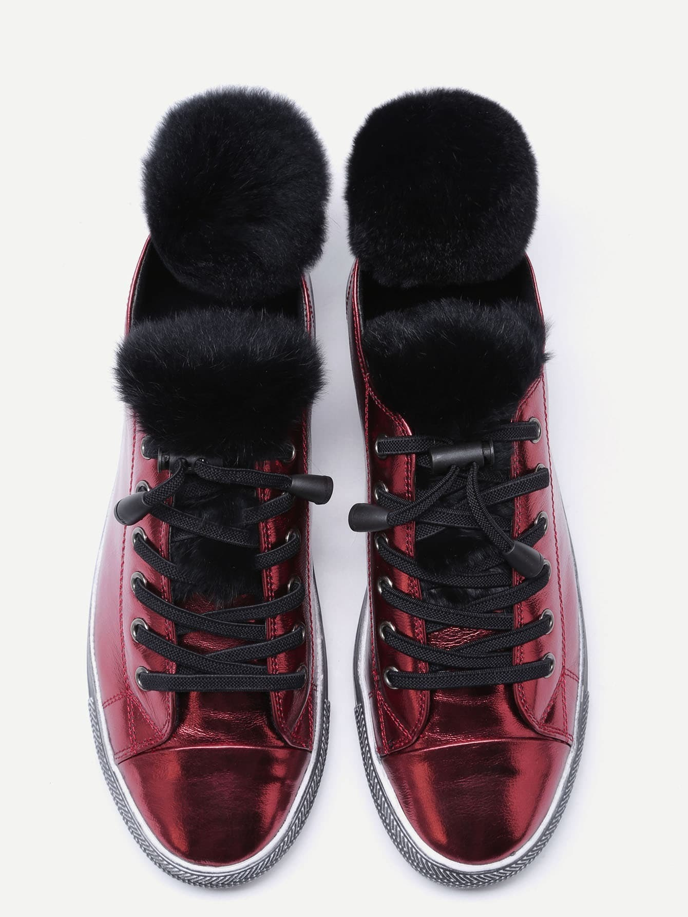 Sneakers en fourrure et cuir bordeaux rouge french romwe for Interieur paupiere inferieure rouge