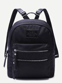 Black Double Zipper Front Nylon Backpack