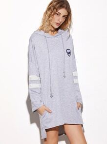 Grey Hooded Embroidered Striped Sleeve High Low Sweatshirt Dress