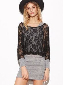 Contrast Flower Embroidered Lace Combo Dress