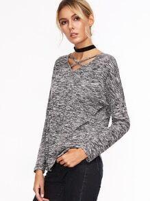 Grey Marled Knit Strappy Double V Neck T-shirt