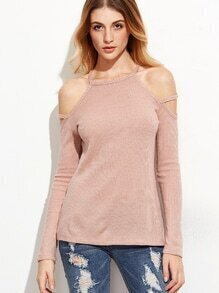 Pink Strappy Cold Shoulder Ribbed T-shirt