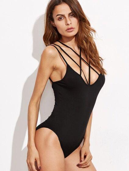 Black Crisscross Cami Bodysuit