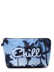 Neceser de maquillaje coméstico con estampado de árbol de palma - azul