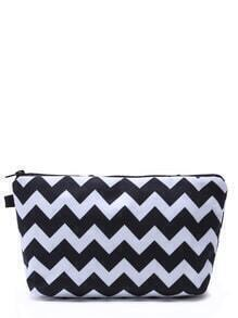 Black And White Geometric Line Print Cosmetic Makeup Bag