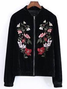 Black Flower Embroidered Velvet Jacket