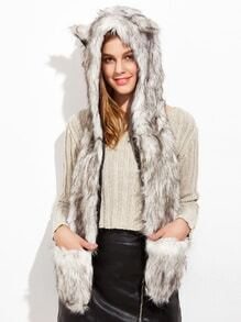 White And Grey Faux Fur Hood Hat With Pockets