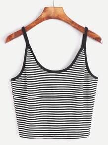 Black Striped Crop Cami Top