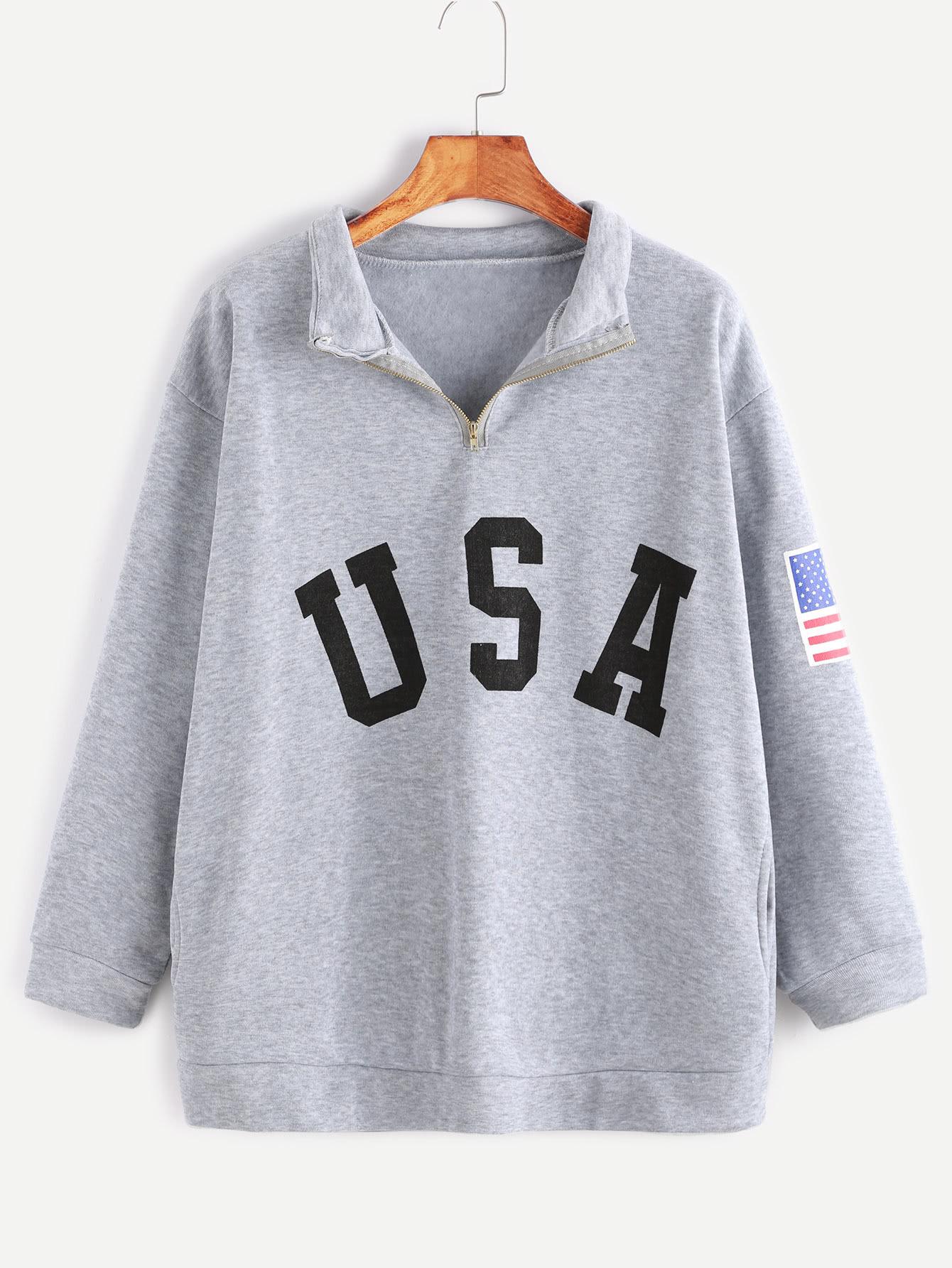 Sweat-shirt imprimé USA zippé détail avec poches -gris bruyère -French Romwe