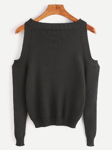 Black Open Shoulder Long Sleeve Sweater