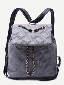 Grey Quilted Nylon Flap Topstitch Backpack