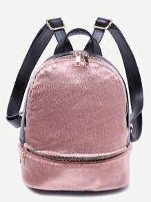 Pink Faux Fur Covered Zip Front Backpack