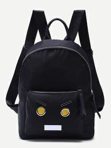 Black Cartoon Patch Front Pocket Nylon Backpack