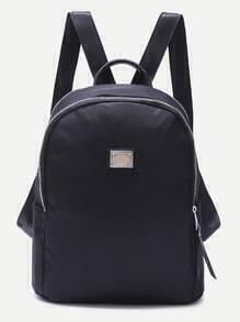Black Metallic Embellished Plain Nylon Backpack