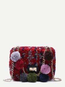 Red Woolen Mini Shoulder Bag With Colored Pom Pom