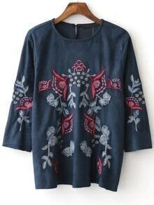 Blue Embroidery Three Quarter Sleeve Suede Blouse