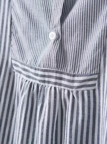 Black And White Vertical Striped High Low Shirt Dress