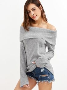 Grey Off The Shoulder Foldover Knit T-shirt
