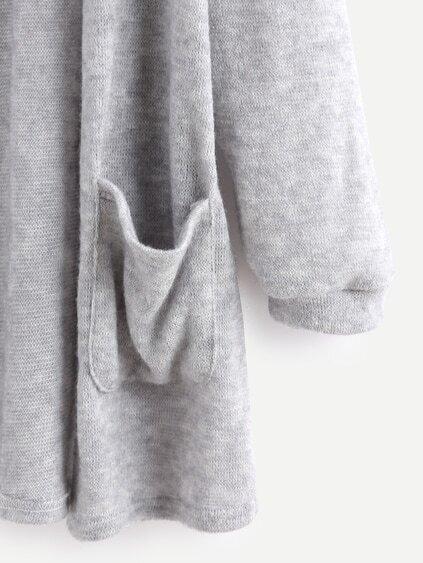 Grey Elastic Cuff Cardigan With Pockets