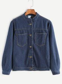 Dark Blue Pockets Front Denim Jacket