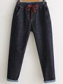 Navy Drawstring Waist Rolled Cuff Jeans
