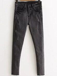 Grey Raw Hem Skinny Jeans
