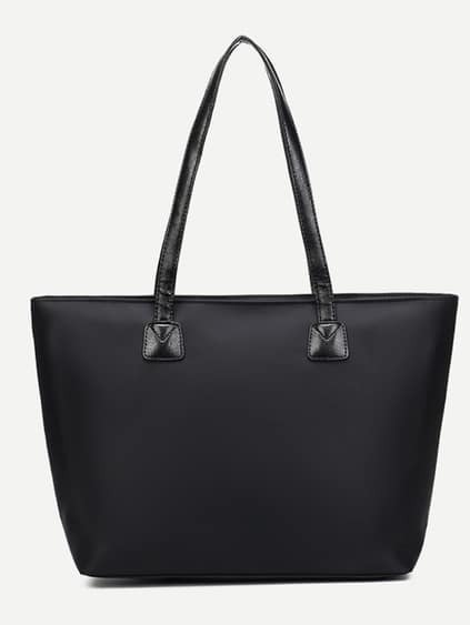 Black Zip Front Nylon Tote Bag