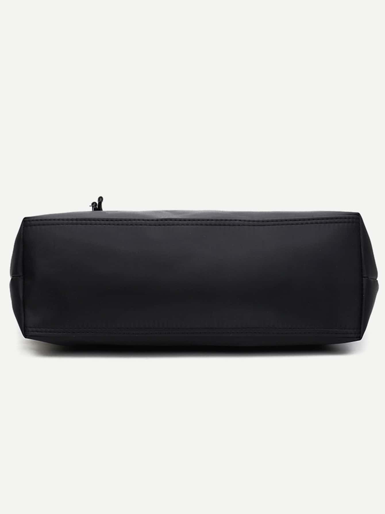 nylon einkaufstasche mit rei verschluss schwarz german romwe. Black Bedroom Furniture Sets. Home Design Ideas