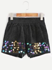 Black Elastic Waist Sequin Embellished Shorts