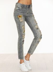 Pale Blue Embroidered Patches Ripped Jeans