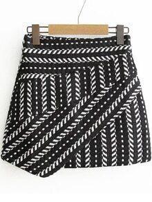 Black Tribal Pattern Asymmetrical Skirt