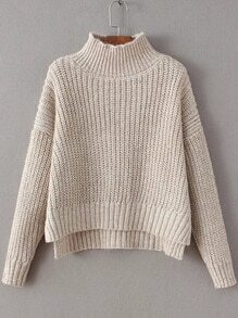 Apricot Mock Neck Drop Shoulder Dip Hem Sweater