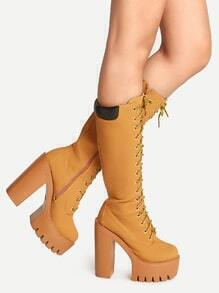 Apricot Lace Up with Full Zip Platform High Heel Tall Boots