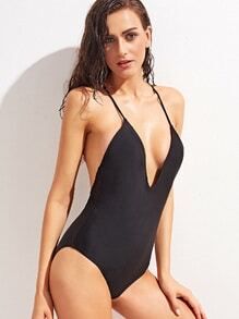 Black Spaghetti Strap Deep V Neck One Piece Swimwear