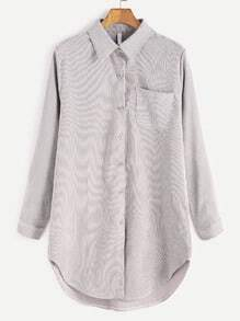 Pale Grey Corduroy High Low Pocket Shirt