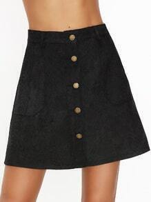 Black Single Breasted Corduroy Pocket Front A Line Skirt